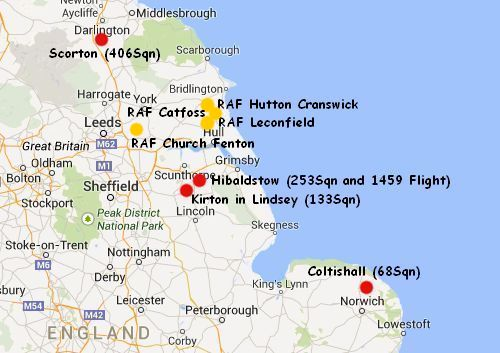 Raf Stations Map Military Histories   Air Defences for York